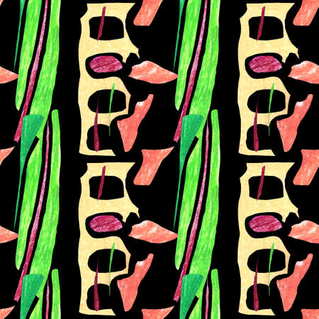 Seamless abstract pattern. Brown, pink and yellow geometric shapes on a black background. Bright ornament with corn leaves and bones.