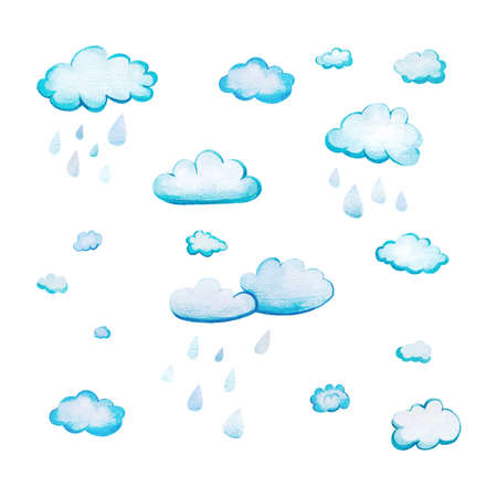 Set with watercolor cartoon rain clouds. White-blue clouds drawn by hand and isolated on a white background. Soft fluffy rounded shapes with the texture of watercolor paper with large raindrops. Imagens
