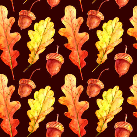 Seamless pattern with oak leaves and acorns. Watercolor autumn fallen leaves of orange and yellow with colorful drops and sprays on a dark brown background. Template for design.