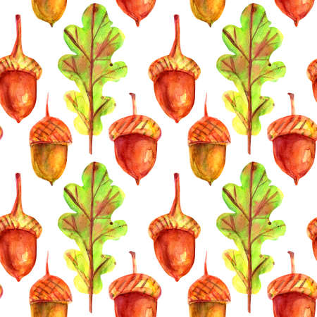 Seamless pattern with oak leaves and acorns. Watercolor autumn green leaves with colorful drops and splashes on a white background. Template for design.