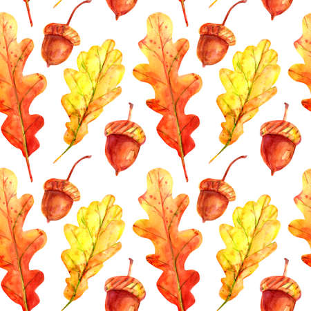 Seamless pattern with oak leaves and acorns. Watercolor autumn leaves fallen orange and yellow with colorful drops and sprays on a white background. Template for design.