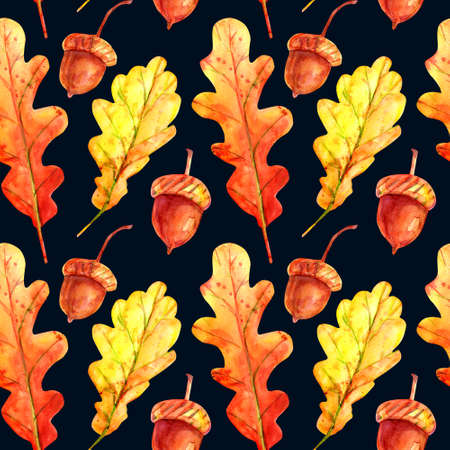 Seamless pattern with oak leaves and acorns. Watercolor autumn leaves fallen orange and yellow with colorful drops and sprays on a dark blue background. Template for design. Stockfoto