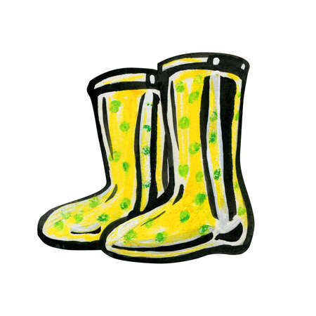 Yellow rubber boots in green peas. Autumn and spring concept. Baby shoes isolated on a white background. Shoes for walking in nature.