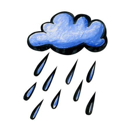 Bright cartoon rain cloud. White-blue cloud drawn by hand and isolated on a white background. Soft fluffy round shape with a black outline and with large drops of rain.