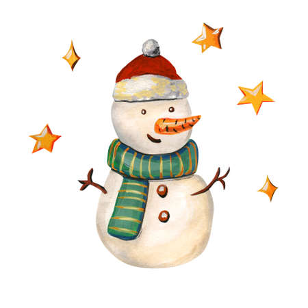 Snowman in a hat of Santa Claus. Merry illustration with a Christmas character in a green striped scarf Isolated on a white background. Stok Fotoğraf