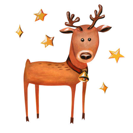 Funny reindeer. Merry illustration with a Christmas character with a collar and a golden bell. Isolated on white background. Stockfoto