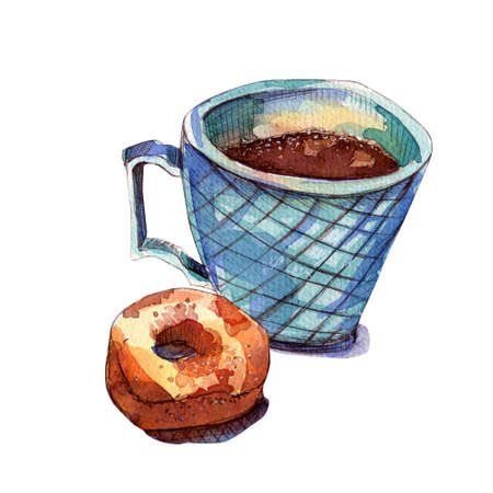 Blue mug with coffee and a donut. Watercolor illustration. Coffee with condensed milk in a green sea cup isolated on white background. Leningrad dumplings. Autumn and winter concept. Banco de Imagens