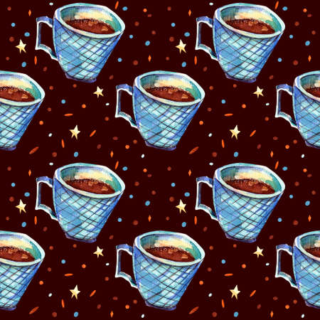 Seamless pattern with blue coffee mug. Watercolor illustration. An isolated cup of sea green on a chocolate background and a powder with stars. Autumn and winter concept. Banco de Imagens