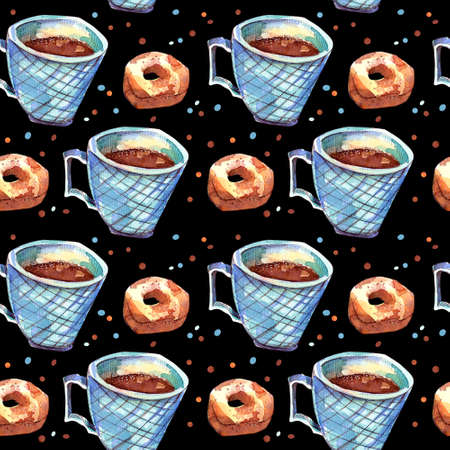 Seamless pattern with coffee mug and donut. Watercolor illustration. Coffee with condensed milk in a cup of green sea on a black background. Leningrad dumplings. Autumn and winter concept. Banco de Imagens