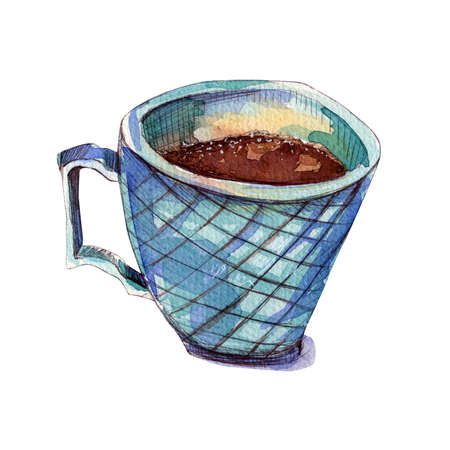 Blue mug with coffee. Watercolor illustration. Isolated sea green cup on a white background. Autumn and winter concept.