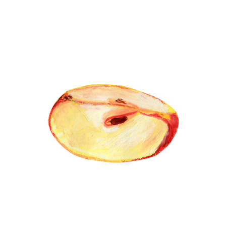 A piece of red apple isolated on a white background. A quarter of ripe fruit with pulp and seeds. Hand-drawn oil pastel illustration for food label design. Eco product.
