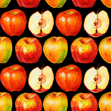 Apples isolated on a black background. Whole ripe fruits and halves with pulp and seeds. Hand-drawn apples for the design of food packaging, textiles, packaging. Imagens