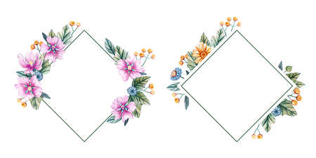 Floral square frames of watercolor wildflowers. There is a place for text. Flowers on a white background. The shape of a diamond. Template for wedding invitations and cards.