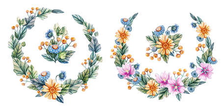Wreaths and bouquets of wildflowers. Hand drawn watercolor. Ideal for printing on cards and wedding invitations. Фото со стока