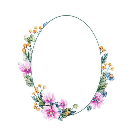 Watercolor illustration with oval frame of wildflowers for a wedding. Floral card with pink flowers, leaves and buds of mallow. Autumn, summer and spring seasons. There is a place for text.