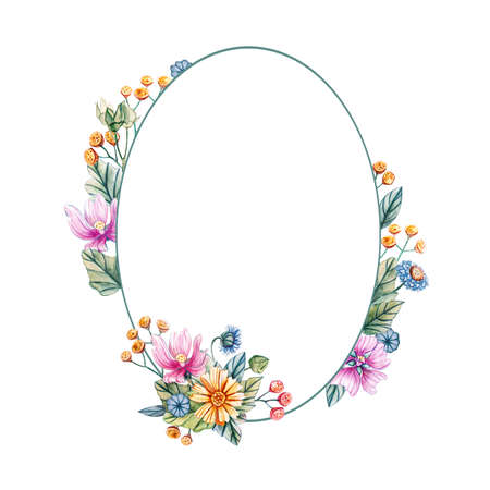 Floral rounded frame of watercolor wildflowers. There is a place for text. Flowers on a white background. Template for wedding invitations and cards.