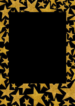 Rectangular frame with metallic gold stars on a black background. Template with place for text. Frame for photo, frame for social networks, template for wedding invitations.