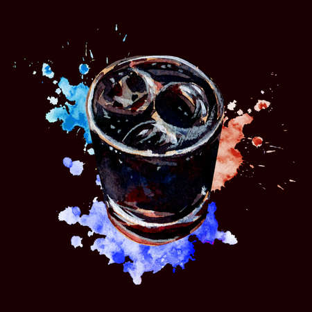 Alcoholic drink Rum and Cola. Cuba Libre. Sparkling cocktail with ice cubes and lime juice. Watercolor splashes of blue, purple and red. Banque d'images - 138378409