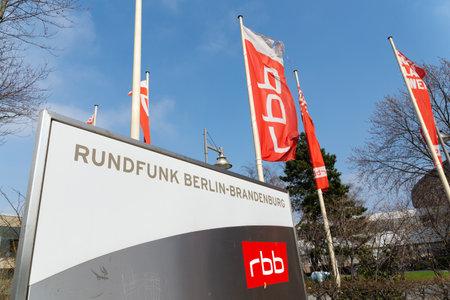 Berlin, BerlinGermany - 23.03.2019: The sign and flags of Sender Freies Berlin, a public radio station in Berlin. The Sign Mean: Radio Berlin Brandenburg