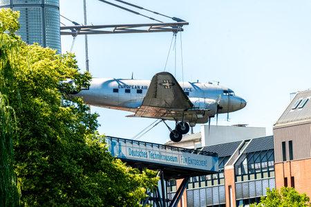 Berlin, BerlinGermany - 07.23.2018: The German Museum of Technology with airplane on the facade in Berlin Kreuzberg