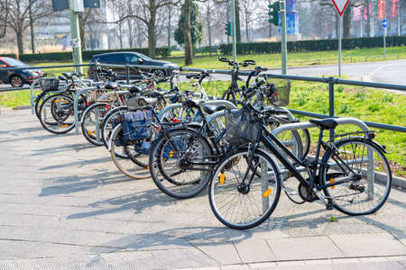 Berlin, BerlinGermany - 23.03.2019: A lot of bicycles, which are connected to hangers in the city of Berlin.