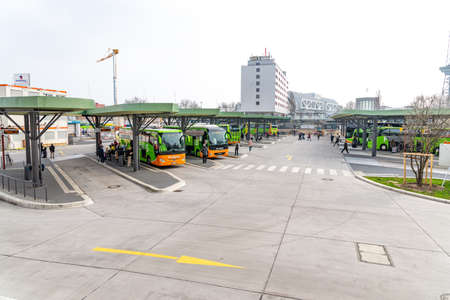 Berlin, Berlin/Germany - 24.03.2019: An overview of the bus station Berlin with buses, covered waiting areas and lanes. Redakční