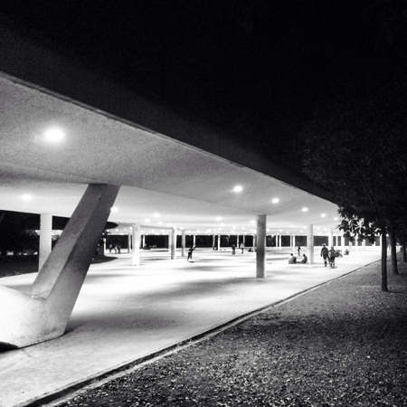 oscar niemeyer: Night shot of a famous park in So Paulo Brazil designed by Oscar Niemeyer  Stock Photo