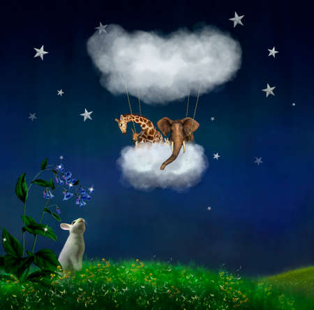 Animals floating in the clouds at night