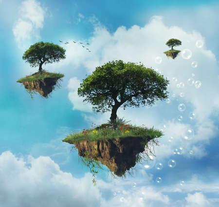 isla flotante: Isla flotante con �rboles en el cielo