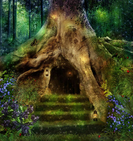 photomanipulation: Old tree in the forest with a little house in ists roots Stock Photo