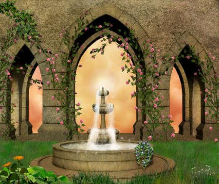 castillos de princesas: Castke jardín con una fuente Foto de archivo
