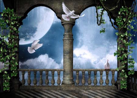 arcos de piedra: Balcón Castillo con palomas volando una luna grande