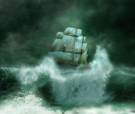 storm sea: Old ship in a thunderstorm Stock Photo