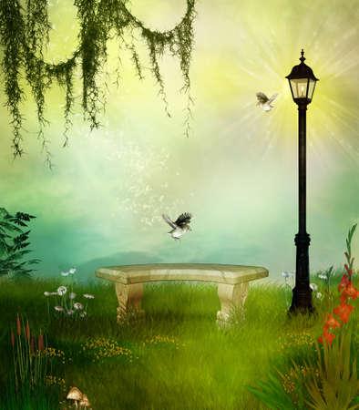 A bench in a fantasitc garden with a street lamp Standard-Bild