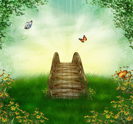 photomanipulation: Bridge in a spring field with flowers an butterflies