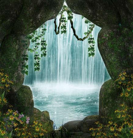 jaskinia: Fantastyczna jaskinia i wodospad w tle