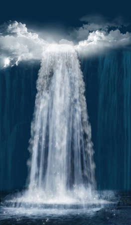 photomanipulation: Fantastic waterfall at night