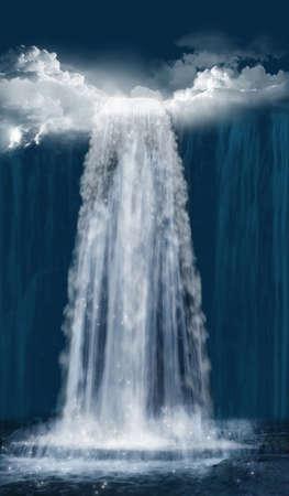 Fantastic waterfall at night