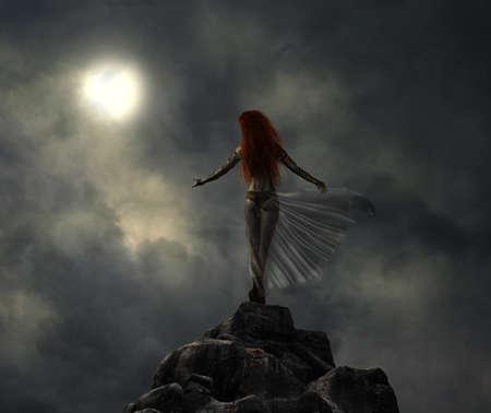 戦士の女性は、月を見て丘の上で