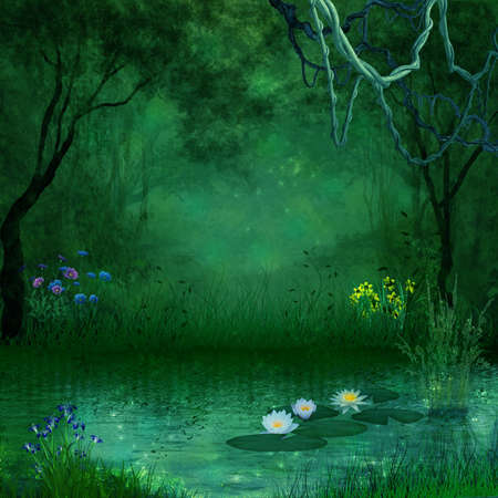 Fantastic pond in the forest