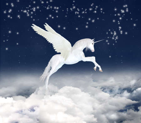 photomanipulation: White unicorn flying in the sky