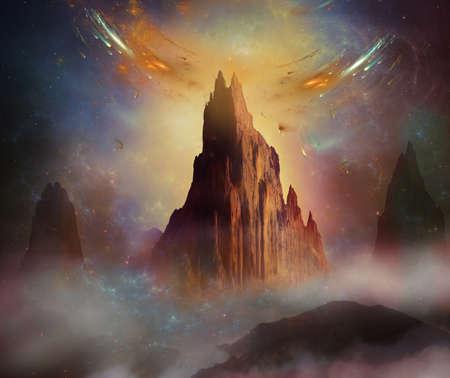 Montagne fantastiche in un pianeta sconosciuto Archivio Fotografico - 27613747