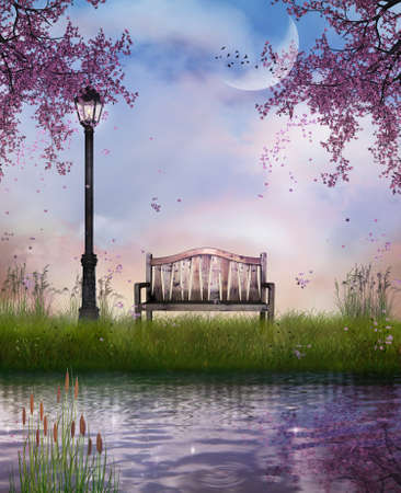 a bench and the river in spring time photo