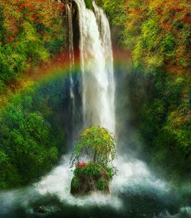 photomanipulation: Fantastic waterfall with a rainbow Stock Photo