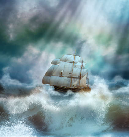 3d boat: old ship sailing in a stormy sea Stock Photo