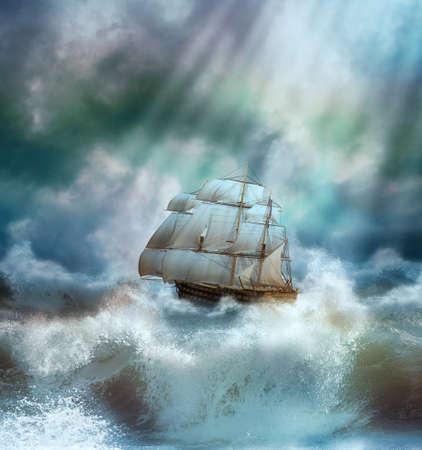 navios: velho navio que navega em um mar tempestuoso Banco de Imagens