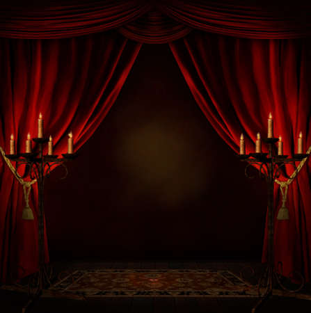 creepy room with red courtains and candles
