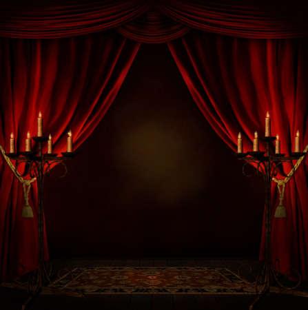 Stanza raccapricciante con tendaggi rossi e candele Archivio Fotografico - 27613775