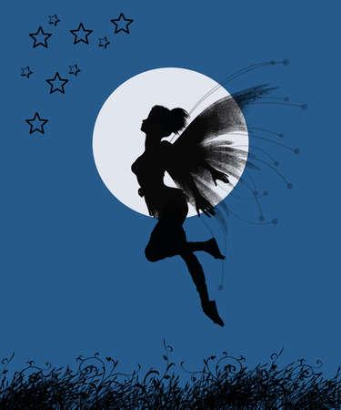 Fata ragazza che battono le stelle in una notte con la luna piena Archivio Fotografico - 27995674