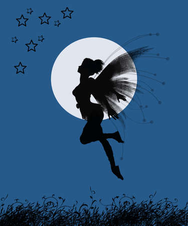fairy girl flying to the stars in a night with full moon Standard-Bild